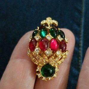 Single Joan Rivers Earring -red,green,goldtone